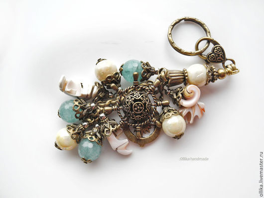 Брелок для ключей, на сумку Мой Моряк Штурвал, Компас, Ракушки, Бронза  брелок для ключей, брелок на сумку, необычный брелок, подарок на любой случай, брелок с ракушками, брелок на джинсы, купить под