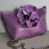 Сумки и аксессуары handmade. Livemaster - original item Leather bag .Bag with applique.Mini Anemones Purple. Handmade.