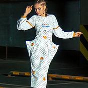 Одежда ручной работы. Ярмарка Мастеров - ручная работа Джинсовое платье-бандо с вышивкой «Red Hot Little Fish». Handmade.
