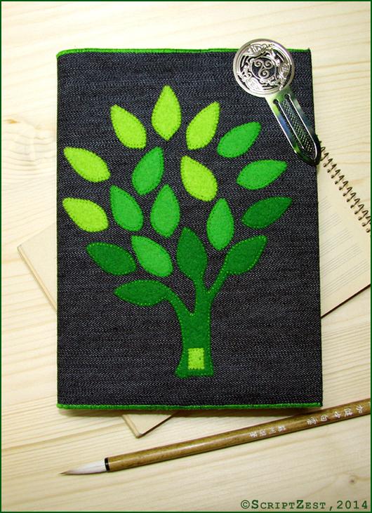 """Обложки ручной работы. Ярмарка Мастеров - ручная работа. Купить Готовая работа: Обложка для книг """"Волшебное дерево"""" джинсовая. Handmade."""