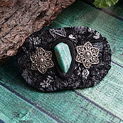 Украшения handmade. Livemaster - original item Large leather barrette with amazonite 002. Handmade.