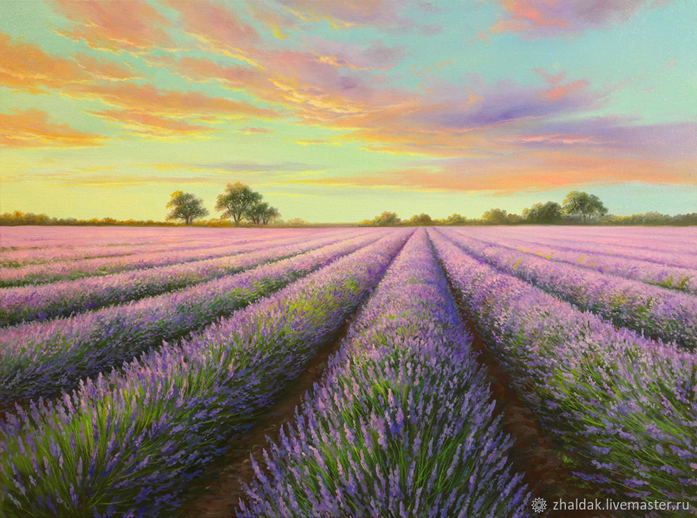 Painting 'Lavender evening' 44,5h60 cm, Pictures, Rostov-on-Don,  Фото №1
