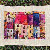 Картина крестиком, вышитая картина Город, вышивка крестом