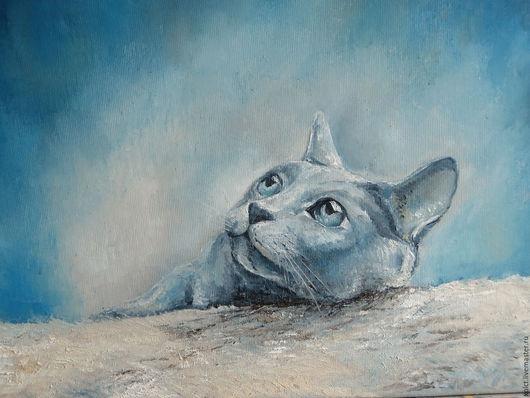 Животные ручной работы. Ярмарка Мастеров - ручная работа. Купить Кот. Handmade. Тёмно-синий, синий, картина маслом, холст