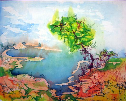 """Пейзаж ручной работы. Ярмарка Мастеров - ручная работа. Купить Батик картина. """"Далекий край"""". Handmade. Голубой, берег, пейзаж"""