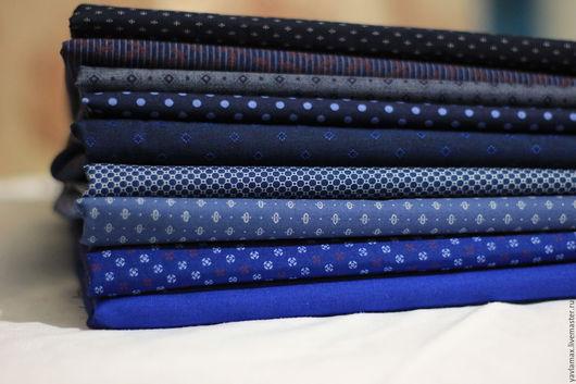 Шитье ручной работы. Ярмарка Мастеров - ручная работа. Купить Набор тканей Синий принт. Handmade. Ткань для рукоделия, ткань