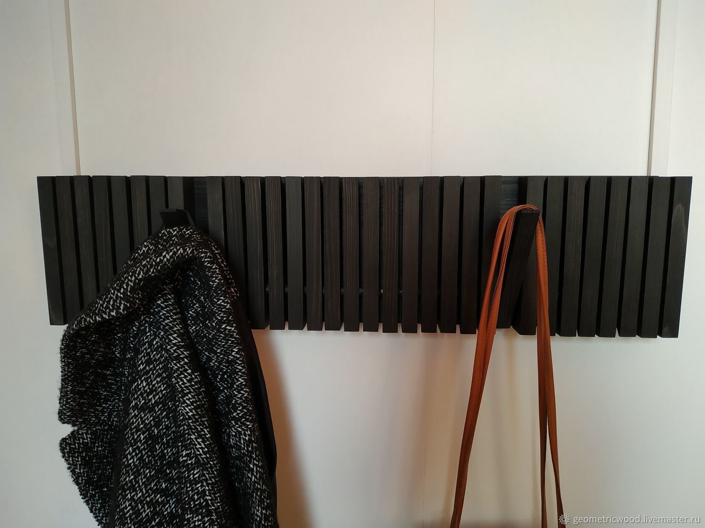 Дизайнерская вешалка из дерева 15 крючков Keyboard Black, Вешалки и крючки, Москва,  Фото №1