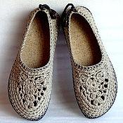Обувь ручной работы. Ярмарка Мастеров - ручная работа Балетки вязаные Льняной шик, р.40, лен, серый. Handmade.