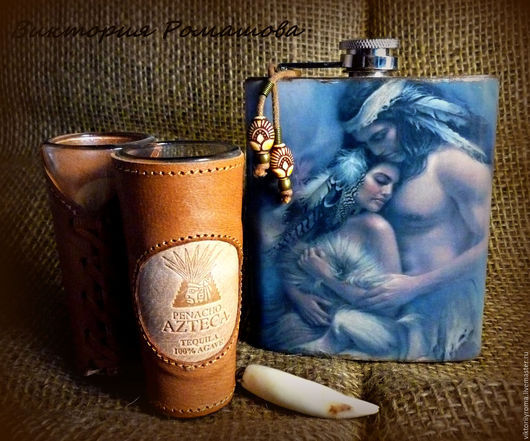 """Подарки для мужчин, ручной работы. Ярмарка Мастеров - ручная работа. Купить Фляга """"Индейцы Северной Америки"""". Handmade. Серый, фляжки"""