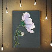 """Картины и панно handmade. Livemaster - original item The painting on wood 40x30sm """"The pink cosmea"""". Handmade."""