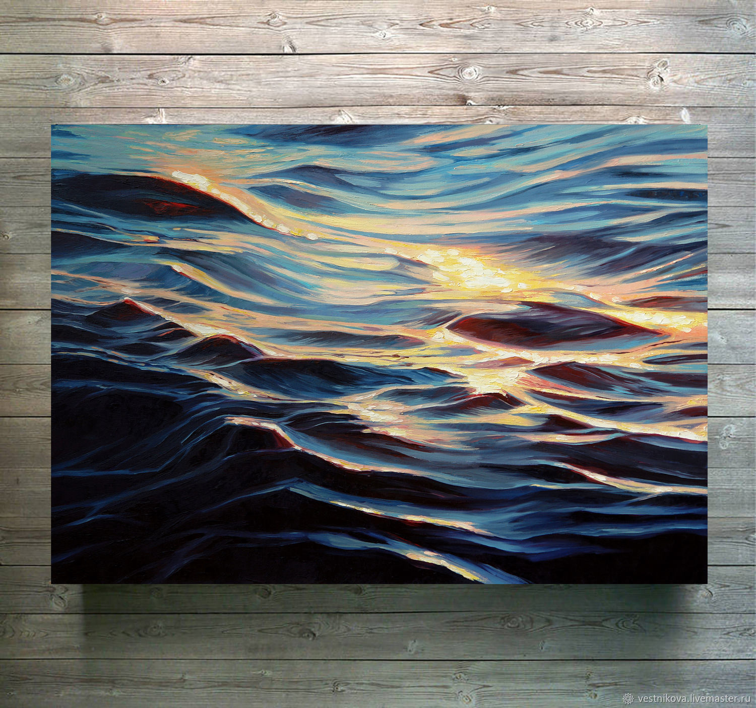 Painting 'The glare of the sun on the water' oil on canvas 50h70 cm, Pictures, Moscow,  Фото №1