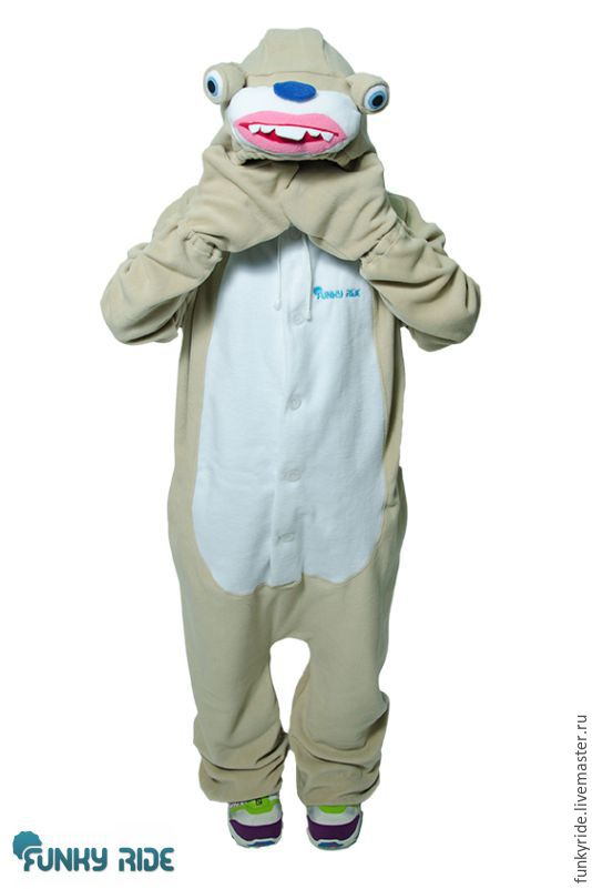 Costume kigurumi fleece Sid the sloth (Ice age)