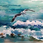 Картины и панно handmade. Livemaster - original item Watercolor Waves Seagull (turquoise blue sea). Handmade.