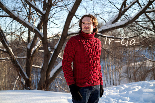 """Для мужчин, ручной работы. Ярмарка Мастеров - ручная работа. Купить Свитер """"Элвис"""". Handmade. Бордовый, мужской свитер"""