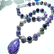 handmade. Livemaster - original item Necklace of charoite and iolite