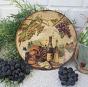 """Посуда ручной работы. Ярмарка Мастеров - ручная работа Декоративная тарелка панно """"Вино и сыр..."""". Handmade."""