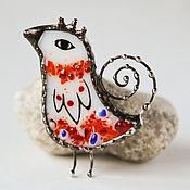 Сказочный птиц. Брошечка. Стекло, металл. Обжиговая роспись