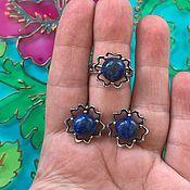 Украшения handmade. Livemaster - original item Earrings and ring with lapis lazuli, silvering, Russia.. Handmade.