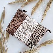 handmade. Livemaster - original item Eco-leather zippered cosmetic bag with Croco-6 pocket. Handmade.