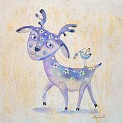 Картины и панно ручной работы. Ярмарка Мастеров - ручная работа Сказочный олень ( батик панно). Handmade.
