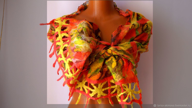 Шарф валяный Жар птица, шарф валяный на шелке, 40 х160 см