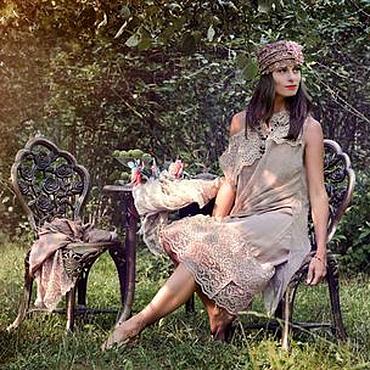 Одежда ручной работы. Ярмарка Мастеров - ручная работа Шелковое многослойное бохо платье Germina. Handmade.