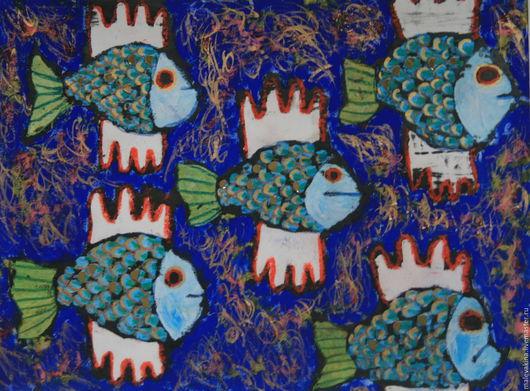 Животные ручной работы. Ярмарка Мастеров - ручная работа. Купить Летучие рыбы. Handmade. Тёмно-синий, золотой, тушь, синий