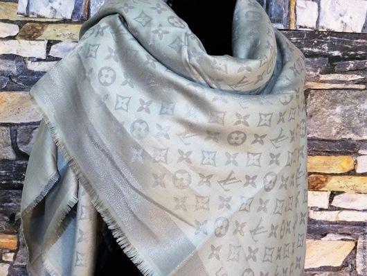 Шали, палантины ручной работы. Ярмарка Мастеров - ручная работа. Купить Платок  из ткани Louis Vuitton. Handmade. Серый, палантин