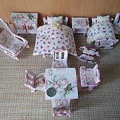 """Мебель для кукол ручной работы. Ярмарка Мастеров - ручная работа Кукольная мебель, """"Розовый винтаж"""", декупаж, большой набор.. Handmade."""