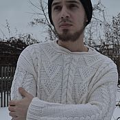 Одежда ручной работы. Ярмарка Мастеров - ручная работа Пуловер  вязаный белый . Свитер ручной работы. Подарок для мужчины.. Handmade.