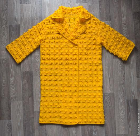 Кофты и свитера ручной работы. Ярмарка Мастеров - ручная работа. Купить Пальто желтое с шишечками. Handmade. Желтый, шерсть