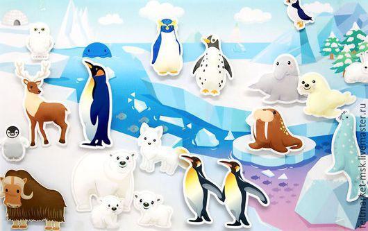 Фетр детский `Антарктида` 2 листа Размер панно-фона 52х84 см Размер листа фетра с животными 52х84 см Стоимость набора 1950 руб.