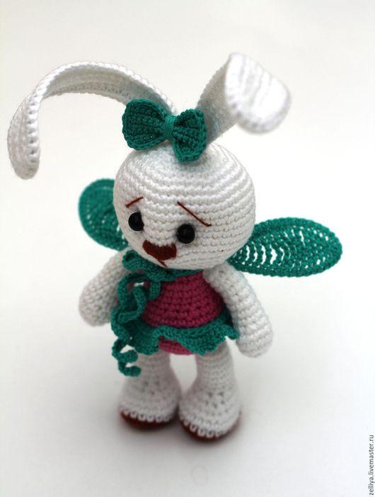 Вязаная игрушка, вязаный заяц, белый заяц, заяц из шерсти, заяц игрушка для детей, игрушка ручной работы