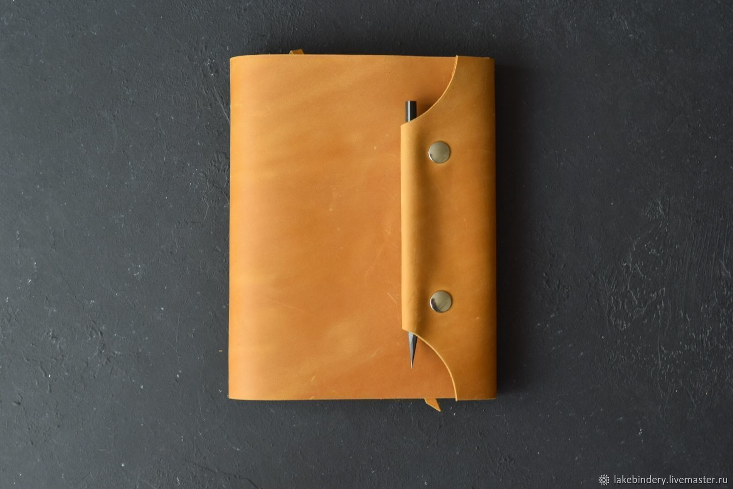 A5 leather notebook with magnetic button tab, Notebooks, Moscow,  Фото №1