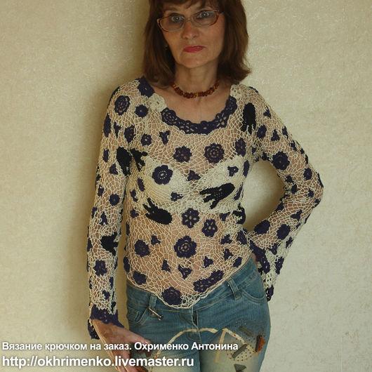 Блузки ручной работы. Ярмарка Мастеров - ручная работа. Купить Бежевая блузка вязанная крчюком. Handmade. Бежевый, ручная работа
