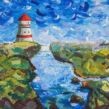 Картины и панно ручной работы. Ярмарка Мастеров - ручная работа Маяк и море. Handmade.