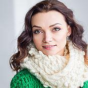 """Аксессуары ручной работы. Ярмарка Мастеров - ручная работа """"Мечта королевы"""", шарф снуд вязаный женский, шарф вязаный ванильный. Handmade."""