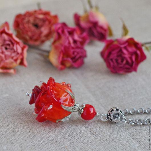 """Кулоны, подвески ручной работы. Ярмарка Мастеров - ручная работа. Купить Серебряный кулон лэмпворк """"Cherry love"""" серебро 925 цветы. Handmade."""