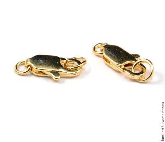 Для украшений ручной работы. Ярмарка Мастеров - ручная работа. Купить Замочек карабин золотой с колечком Замок лобстер lobster с кольцом. Handmade.
