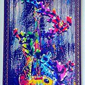 Подарки ручной работы. Ярмарка Мастеров - ручная работа Картина «Волшебные звуки гитары» алмазная выкладка в багете. Handmade.