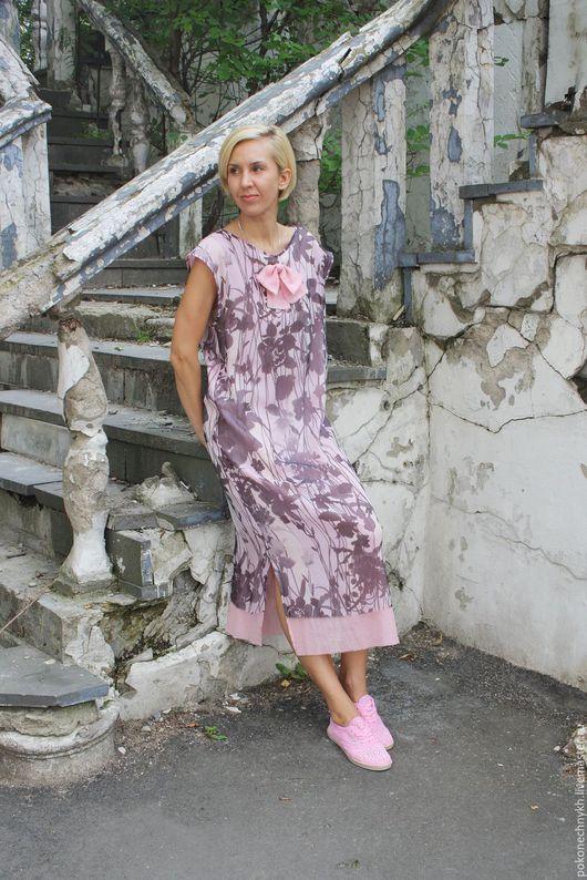 Платья ручной работы. Ярмарка Мастеров - ручная работа. Купить Шифоновое двухслойное платье РОЗОВЫЕ ГРЁЗЫ. Handmade. Розовый