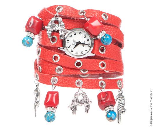 """Часы ручной работы. Ярмарка Мастеров - ручная работа. Купить ХИТ ЛЕТА Часы """"Красное море"""". Handmade. Коралловый, браслет"""
