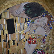 """Картины и панно ручной работы. Ярмарка Мастеров - ручная работа Копия картины Гюстава Климта """"Поцелуй"""". Handmade."""