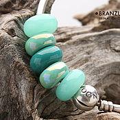 handmade. Livemaster - original item Mint candies - set 5 lampwork and ceramic beads - green mint. Handmade.