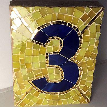 Для дома и интерьера ручной работы. Ярмарка Мастеров - ручная работа Вывески: мозаичный номер на дом. Handmade.