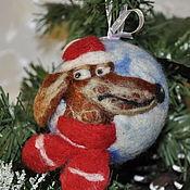 """Подарки к праздникам ручной работы. Ярмарка Мастеров - ручная работа """"Собака-2018"""" елочный шар. Handmade."""