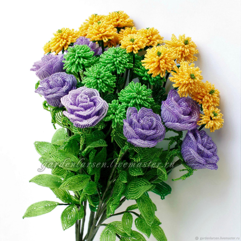 Букет роз с кустовыми хризантемами, Цветы, Москва, Фото №1