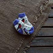 Аксессуары handmade. Livemaster - original item Socks for kids wool with bullfinches. Handmade.