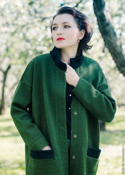 Пальто-кардиган, цвет «Лесной зеленый»