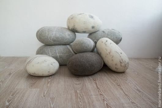 Текстиль, ковры ручной работы. Ярмарка Мастеров - ручная работа. Купить Войлочные камни-подушки. Handmade. Серый, войлок